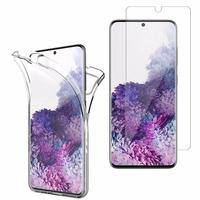 """Samsung Galaxy S20/ S20 5G 6.2"""": Coque Housse Silicone Gel TRANSPARENTE ultra mince 360° protection intégrale Avant et Arrière - TRANSPARENT + 1 Film de protection d'écran Verre Trempé"""