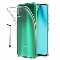 """Huawei P40 Lite/ Nova 6 SE 6.4"""" JNY-L21A L01A L21B L22A L02A L22B LX1 AL10 TL10 (non compatible Huawei P40 lite E 6.39""""): Coque Silicone gel UltraSlim et Ajustement parfait + mini Stylet - TRANSPARENT"""