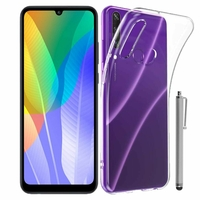 "Huawei Y6p 6.3"" MED-LX9 MED-LX9N ART-L29 [Les Dimensions EXACTES du telephone: 159.1 x 74.1 x 9 mm]: Coque Silicone gel UltraSlim et Ajustement parfait + Stylet - TRANSPARENT"