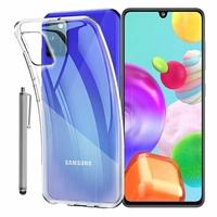 "Samsung Galaxy A41 6.1"" SM-A415F A415F/DSN A415F/DSM [Les Dimensions EXACTES du telephone: 149.9 x 69.8 x 7.9 mm]: Coque Silicone gel UltraSlim et Ajustement parfait + Stylet - TRANSPARENT"