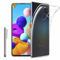 """Samsung Galaxy A21S 6.5"""" SM-A217F A217F/DS A217F/DSN A217M A217N (non compatible Galaxy A21): Coque Silicone gel UltraSlim et Ajustement parfait + Stylet - TRANSPARENT"""
