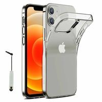 """Apple iPhone 12 6.1"""" A2403 A2172 A2402 A2404 (non compatible iPhone 12 mini 5.4""""): Coque Silicone gel UltraSlim et Ajustement parfait + mini Stylet - TRANSPARENT"""