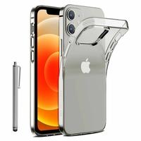 """Apple iPhone 12 6.1"""" A2403 A2172 A2402 A2404 (non compatible iPhone 12 mini 5.4""""): Coque Silicone gel UltraSlim et Ajustement parfait + Stylet - TRANSPARENT"""