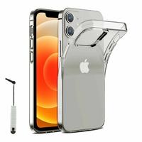 """Apple iPhone 12 mini 5.4"""" A2399 A2176 A2398 A2400 (non compatible iPhone 12 6.1""""): Coque Silicone gel UltraSlim et Ajustement parfait + mini Stylet - TRANSPARENT"""