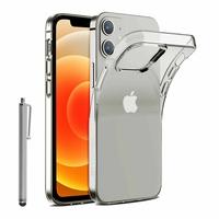 """Apple iPhone 12 mini 5.4"""" A2399 A2176 A2398 A2400 (non compatible iPhone 12 6.1""""): Coque Silicone gel UltraSlim et Ajustement parfait + Stylet - TRANSPARENT"""