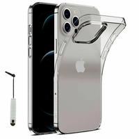 """Apple iPhone 12 Pro Max 6.7"""" A2411 A2342 A2410 A2412 (non compatible iPhone 12 Pro 6.1""""): Coque Silicone gel UltraSlim et Ajustement parfait + mini Stylet - TRANSPARENT"""