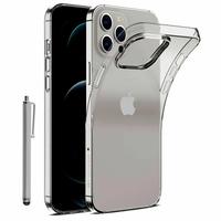 "Apple iPhone 12 Pro Max 6.7"" A2411 A2342 A2410 A2412 (non compatible iPhone 12 Pro 6.1""): Coque Silicone gel UltraSlim et Ajustement parfait + Stylet - TRANSPARENT"