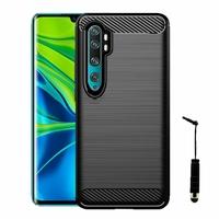 "Xiaomi Mi Note 10/ Note 10 Pro 6.47"" M1910F4G [Les Dimensions EXACTES du telephone: 157.8 x 74.2 x 9.7 mm]: Coque Silicone TPU Fibre de Carbone Brossé + mini Stylet - NOIR"