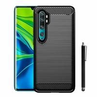 "Xiaomi Mi Note 10/ Note 10 Pro 6.47"" M1910F4G [Les Dimensions EXACTES du telephone: 157.8 x 74.2 x 9.7 mm]: Coque Silicone TPU Fibre de Carbone Brossé + Stylet - NOIR"