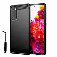 """Samsung Galaxy S20 FE/ S20 FE 4G/ S20 FE 5G/ S20 Fan Edition/ S20 Lite 6.5"""" SM-G780F G780F/DSM G781B (non compatible Galaxy S20 6.2""""): Coque Silicone TPU Fibre de Carbone Brossé + mini Stylet - NOIR"""