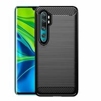 """Xiaomi Mi CC9 Pro 6.47"""" M1910F4E (non compatible Xiaomi Mi CC9 6.39""""/ Mi CC9E 6.01""""): Coque Silicone TPU Fibre de Carbone Brossé - NOIR"""