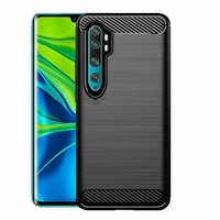 "Xiaomi Mi Note 10/ Note 10 Pro 6.47"" M1910F4G [Les Dimensions EXACTES du telephone: 157.8 x 74.2 x 9.7 mm]: Coque Silicone TPU Fibre de Carbone Brossé - NOIR"