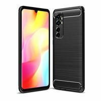 "Xiaomi Mi Note 10 Lite 6.47"" M2002F4LG M1910F4G (non compatible Xiaomi Mi 10 Lite 5G 6.57"") [Les Dimensions EXACTES du telephone: 157.8 x 74.2 x 9.7 mm]: Coque Silicone TPU Fibre de Carbone Brossé - NOIR"