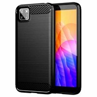 "Huawei Y5p/ Honor 9S 5.45"" DRA-LX9 DUA-LX9 [Les Dimensions EXACTES du telephone: 146.5 x 70.9 x 8.4 mm]: Coque Silicone TPU Fibre de Carbone Brossé - NOIR"