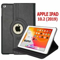 Apple iPad 10.2 (2019)/ iPad 7th Gen/ iPad (7th generation) A2197 A2200 A2198 [Les Dimensions EXACTES du Tablette: 250.6 x 174.1 x 7.5 mm]: Etui Cuir PU Support Rotatif 360° - NOIR
