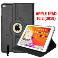 Apple iPad 10.2 (2019)/ iPad 7th Gen/ iPad (7th generation) A2197 A2200 A2198 [Les Dimensions EXACTES du Tablette: 250.6 x 174.1 x 7.5 mm]: Etui Cuir PU Support Rotatif 360° + mini Stylet - NOIR