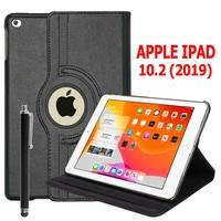 Apple iPad 10.2 (2019)/ iPad 7th Gen/ iPad (7th generation) A2197 A2200 A2198 [Les Dimensions EXACTES du Tablette: 250.6 x 174.1 x 7.5 mm]: Etui Cuir PU Support Rotatif 360° + Stylet - NOIR