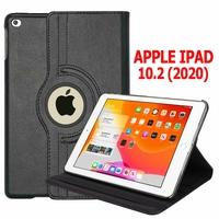 Apple iPad 10.2 (2020)/ iPad 8th Gen/ iPad (8th generation) A2428 A2429 A2270 A2430 [Les Dimensions EXACTES du Tablette: 250.6 x 174.1 x 7.5 mm]: Etui Cuir PU Support Rotatif 360° - NOIR