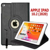 Apple iPad 10.2 (2020)/ iPad 8th Gen/ iPad (8th generation) A2428 A2429 A2270 A2430 [Les Dimensions EXACTES du Tablette: 250.6 x 174.1 x 7.5 mm]: Etui Cuir PU Support Rotatif 360° + mini Stylet - NOIR