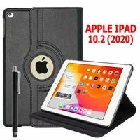 Apple iPad 10.2 (2020)/ iPad 8th Gen/ iPad (8th generation) A2428 A2429 A2270 A2430 [Les Dimensions EXACTES du Tablette: 250.6 x 174.1 x 7.5 mm]: Etui Cuir PU Support Rotatif 360° + Stylet - NOIR