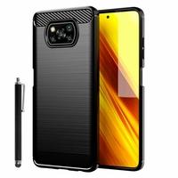"""Xiaomi Poco X3 NFC/ Poco X3 6.67"""" M2007J20CG M2007J20CT MZB07Z0IN MZB07Z1IN MZB07Z2IN MZB07Z3IN MZB07Z4IN MZB9965IN M2007J20CI: Coque Silicone TPU Fibre de Carbone Brossé + Stylet - NOIR"""