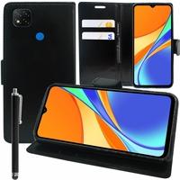 "Xiaomi Redmi 9C/ 9C NFC/ Redmi 9 (India) 6.53"" M2006C3MG (non compatible Xiaomi Redmi 9/ 9A): Etui portefeuille Support Video cuir PU + Stylet - NOIR"