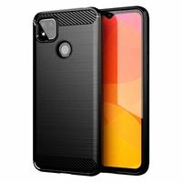 "Xiaomi Redmi 9C/ 9C NFC/ Redmi 9 (India) 6.53"" M2006C3MG (non compatible Xiaomi Redmi 9/ 9A): Coque Silicone TPU Fibre de Carbone Brossé - NOIR"