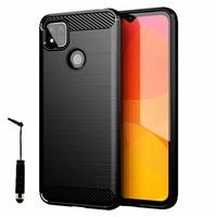 "Xiaomi Redmi 9C/ 9C NFC/ Redmi 9 (India) 6.53"" M2006C3MG (non compatible Xiaomi Redmi 9/ 9A): Coque Silicone TPU Fibre de Carbone Brossé + mini Stylet - NOIR"