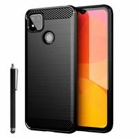 "Xiaomi Redmi 9C/ 9C NFC/ Redmi 9 (India) 6.53"" M2006C3MG (non compatible Xiaomi Redmi 9/ 9A): Coque Silicone TPU Fibre de Carbone Brossé + Stylet - NOIR"