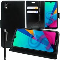 """Honor 8S 2020 5.71"""" KSA-LX9 [Les Dimensions EXACTES du telephone: 147.1 x 70.8 x 8.5 mm]: Etui portefeuille Support Video cuir PU + Stylet - NOIR"""