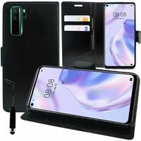 "Huawei Nova 7 SE 5G Youth 6.5"" CND-AN00 [Les Dimensions EXACTES du telephone: 162.3 x 75 x 8.6 mm]: Etui portefeuille Support Video cuir PU + mini Stylet - NOIR"