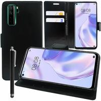 "Huawei Nova 7 SE 5G Youth 6.5"" CND-AN00 [Les Dimensions EXACTES du telephone: 162.3 x 75 x 8.6 mm]: Etui portefeuille Support Video cuir PU + Stylet - NOIR"