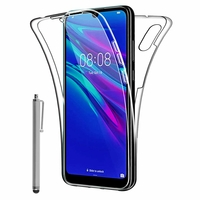 """Huawei Y6S (2019)/ Honor 8A 2020/ 8A Prime 6.09"""" JAT-LX3 JAT-L29 JAT-LX1 JAT-L41[Les Dimensions EXACTES du telephone: 156.3 x 73.5 x 8 mm]: Coque Avant et Arrière Silicone 360° protection intégrale  + Stylet - TRANSPARENT"""