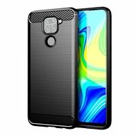 """Xiaomi Redmi 10X 4G 6.53"""" M2003J15SC M2004J7AC (non compatible Xiaomi Redmi 10X 5G 6.57"""") [Les Dimensions EXACTES du telephone: 162.3 x 77.2 x 8.9 mm]: Coque Silicone TPU Fibre de Carbone Brossé - NOIR"""