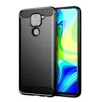 """Xiaomi Redmi Note 9 6.53"""" M2003J15SC M2003J15SG M2003J15SS (non compatible Xiaomi Redmi Note 9S/ 9 Pro/ Pro Max 6.67"""") [Les Dimensions EXACTES du telephone: 162.3 x 77.2 x 8.9 mm]: Coque Silicone TPU Fibre de Carbone Brossé - NOIR"""