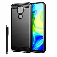 "Xiaomi Redmi Note 9 6.53"" M2003J15SC M2003J15SG M2003J15SS (non compatible Xiaomi Redmi Note 9S/ 9 Pro/ Pro Max 6.67"") [Les Dimensions EXACTES du telephone: 162.3 x 77.2 x 8.9 mm]: Coque Silicone TPU Fibre de Carbone Brossé + Stylet - NOIR"