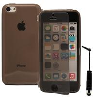 Apple iPhone 5C: Accessoire Coque Etui Housse Pochette silicone gel Portefeuille Livre rabat + mini Stylet - GRIS
