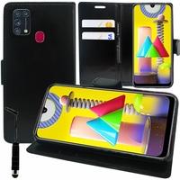 "Samsung Galaxy M31 6.4"" SM-M315F M315F/DS M315F/DSN [Les Dimensions EXACTES du telephone: 159.2 x 75.1 x 8.9 mm]: Etui portefeuille Support Video cuir PU - NOIR"