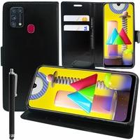 "Samsung Galaxy M31 6.4"" SM-M315F M315F/DS M315F/DSN [Les Dimensions EXACTES du telephone: 159.2 x 75.1 x 8.9 mm]: Etui portefeuille Support Video cuir PU + Stylet - NOIR"