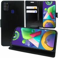 "Samsung Galaxy M21 6.4"" SM-M215F/DS M215F/DSN [Les Dimensions EXACTES du telephone: 159 x 75.1 x 8.9 mm]: Etui portefeuille Support Video cuir PU - NOIR"