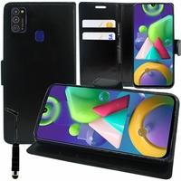 "Samsung Galaxy M21 6.4"" SM-M215F/DS M215F/DSN [Les Dimensions EXACTES du telephone: 159 x 75.1 x 8.9 mm]: Etui portefeuille Support Video cuir PU + mini Stylet - NOIR"