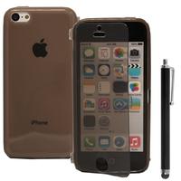 Apple iPhone 5C: Accessoire Coque Etui Housse Pochette silicone gel Portefeuille Livre rabat + Stylet - GRIS