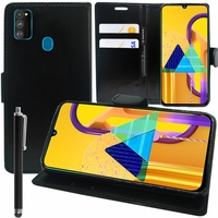 """Samsung Galaxy M30S 6.4"""" SM-M307F/DS M307FN/DS (non compatible Galaxy M30): Etui portefeuille Support Video cuir PU + Stylet - NOIR"""