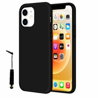 "Apple iPhone 12 mini 5.4"" A2399 A2176 A2398 A2400 (non compatible iPhone 12 6.1""): Coque TPU silicone mat souple ultra-fine antidérapant + mini Stylet - NOIR"