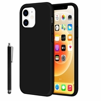 """Apple iPhone 12 mini 5.4"""" A2399 A2176 A2398 A2400 (non compatible iPhone 12 6.1""""): Coque TPU silicone mat souple ultra-fine antidérapant + Stylet - NOIR"""