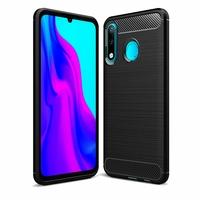 """Huawei P30 Lite New Edition/ P30 Lite 2020 6.15"""" MAR-L21BX (non compatible Huawei P30/ P30 Pro): Coque Silicone TPU Fibre de Carbone Brossé - NOIR"""