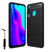 """Huawei P30 Lite New Edition/ P30 Lite 2020 6.15"""" MAR-L21BX (non compatible Huawei P30/ P30 Pro): Coque Silicone TPU Fibre de Carbone Brossé + mini Stylet - NOIR"""