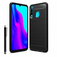 """Huawei P30 Lite New Edition/ P30 Lite 2020 6.15"""" MAR-L21BX (non compatible Huawei P30/ P30 Pro): Coque Silicone TPU Fibre de Carbone Brossé + Stylet - NOIR"""