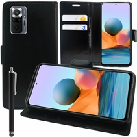 """Xiaomi Redmi Note 10/ Note 10S 6.43"""" M2101K7AI (non compatible Xiaomi Redmi Note 10 5G 6.5""""/ Xiaomi Mi Note 10 6.47""""): Etui portefeuille Support Video cuir PU + Stylet - NOIR"""