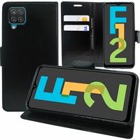 """Samsung Galaxy F12 6.5"""" SM-F127G SM-F127G/DS SM-F127F SM-F127F/DS [Les Dimensions EXACTES du telephone: 164 x 75.9 x 9.7 mm]: Etui portefeuille Support Video cuir PU - NOIR"""